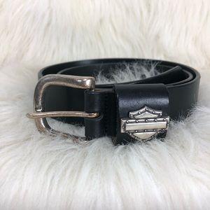 Harley Davidson Black leather & silver belt. Sz 34